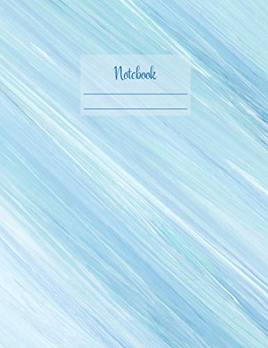 Notebook: Large notebook with 120 Lined pages. Wide ruled. Ideal for School notes, Journaling, Hand lettering, Calligraphy practice. Perfect gift. 8.5' x 11.0' (Large). (Watercolor blue design cover). - Afrika Antique Print