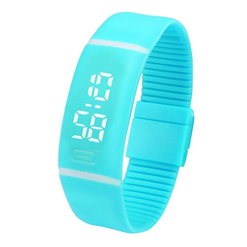 FEITONG Einfach Unisex Gummi LED Uhr Datum Sport Armband Digital Armbanduhr (Himmelblau)