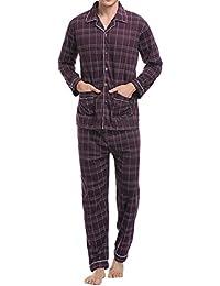 Aibrou Pijamas Hombre Invierno Algodón & Poliéster Set,Suave,Cómodo y Agradable