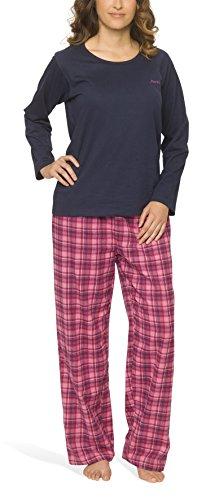 Damen Schlafanzug mit Flanellhose - Moonline, Farbe:navy, Größe:40/42 (Damen-flanell)