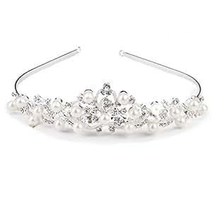 Bridal Tiara Crown Headband Rhinestone Faux Pearl Hair Jewellery