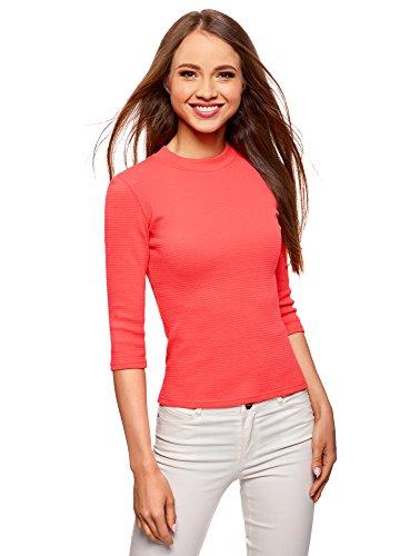 oodji Ultra Damen Pullover aus Geripptem Stoff mit 3/4 Arm, Rot, DE 36 / EU 38 / S - Rot Gerippt Pullover