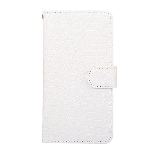 BING Universal Rotation Clip Krokodil Texture Case Geeignet für 4.8-5.3 Zoll Handys, für iPhone 7 & Samsung Galaxy S7 & S6 Edge & Huawei P9 Horizontale Flip PU Ledertasche mit Card Slots & Foto Frame  White