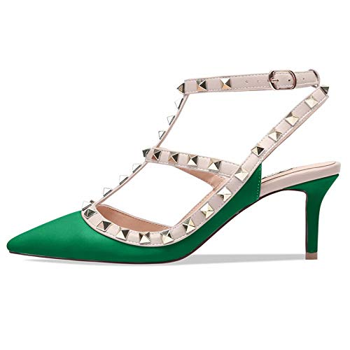 4780d06af70e5 Chris-T Women Pointed Toe Studded Strappy Slingback Kitten Heel Leather  Pumps Stilettos Sandals Green Matte Size 11 US