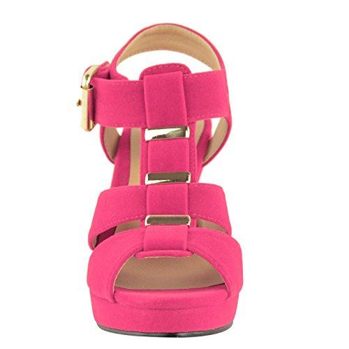 Sandales bout ouvert pour femmes brides Fuchsia Cuir Suédé