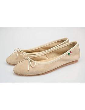 Scarpa Donna Ballerina, In pelle scamosciata -SilferShoes - made In Italy - Colore Beige chiaro