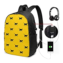 Business Laptop Backpack Cat USB Charge for Men Women 17In
