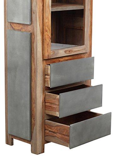 The Wood Times Wohnzimmerschrank Massiv Vintage Look Odisha Sheeshamholz, FSC Zertifiziert, BxHxT 67x190x40 cm - 2