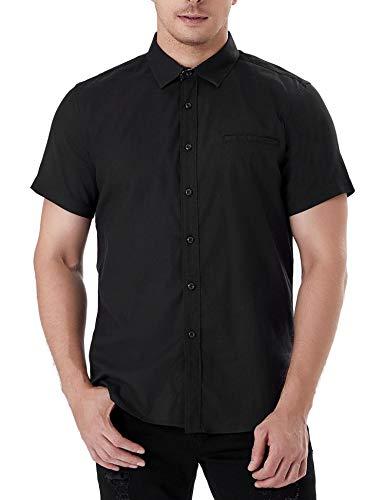 Aibrou Herren Hemd Slim-Fit Kurzarm Freizeit Business Party Shirt schwarz XL