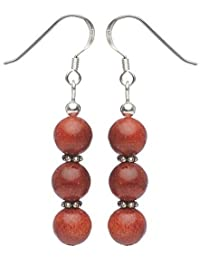 Ohrringe Ohrhänger aus Koralle Schaumkoralle & 925 Silber rot Korallenohrringe