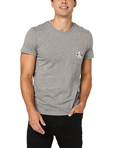 Calvin Klein Jeans Herren Shirt Monogram Pocket Graumeliert XL (Jeans Calvin Shirt Klein)