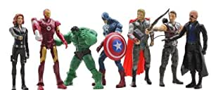 Skrou Collection Lot de 7 figurines d'Avengers comprenant Light Iron Man Captain America Hulk Thor Black Widow Hawkeye 15 cm