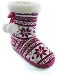 Chaussons bottes tricotés à rebords en fausse fourrure et pompons - Femme