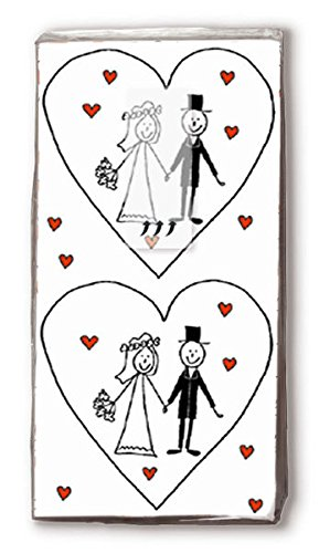Mouchoirs marriage coeurs pour mariage