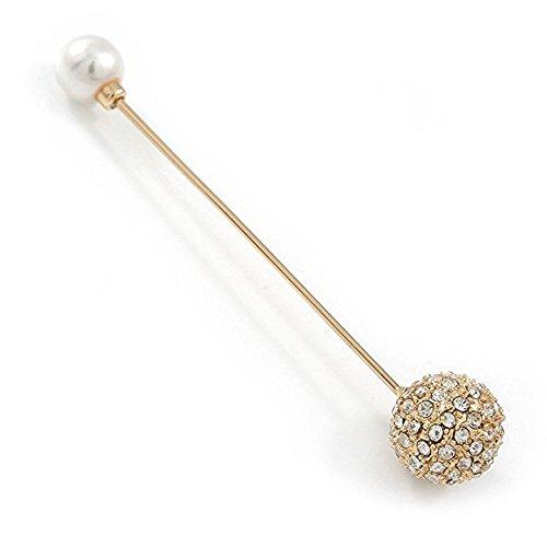Vintage inspiriert Kristall Kugel, Perle Revers, hat, Anzug, Smoking, Halsband, Schal, Mantel Stick Brosche in Gold Tone Metall–85mm L...