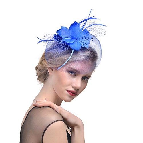 iKulilky Damen Elegant Jockey Club Tee Party Cocktail Derby Hut Braut Blumen Mesh Kopfschmuck Stirnbänder Fascinator Federhut Pillbox Hut Hair Clip