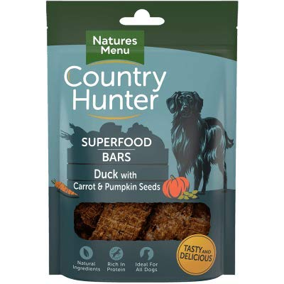 Natures Menu Country Hunter Superfood Dog Bars Duck with Carrot & Pumpkin Seeds 7x100gm