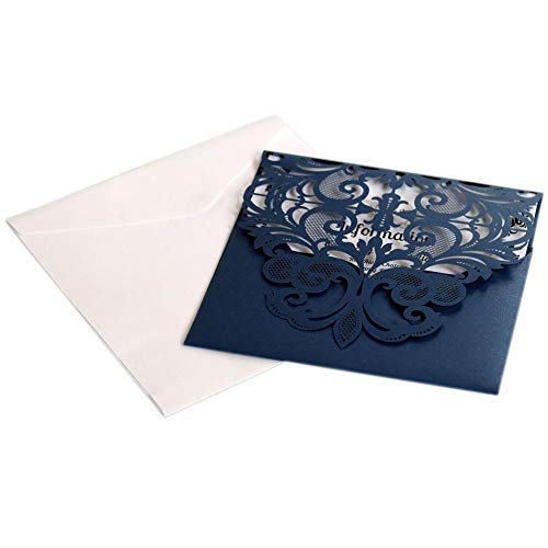AOWEIRILUV 10 Stück tiefblaue Spitze aushöhlen Einladungskarte Hochzeit Einladung Brief Festival Grußkarte