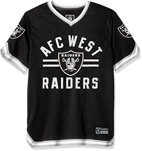 Icer Brands NFL Herren T-Shirt Oakland Raiders Jersey V-Ausschnitt Mesh Stripe Tee Shirt X-Large, Schwarz -