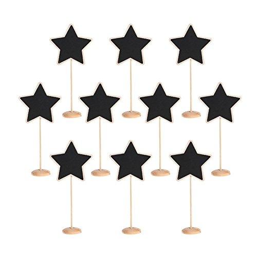 Trixes 10 x Mini Pizarras Forma Estrella Base Madera