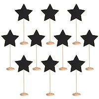 TRIXES 10 x Mini Pizarras en Forma de Estrella Base de Madera - Pizarras Pequeñas para Tableros de Mensajes