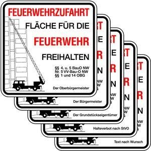 """0510. Feuerwehrzufahrt mit Zusatztexten - ALU """"FEUERWEHRZUFAHRT...""""+Haltverbot. - 500x500mm"""