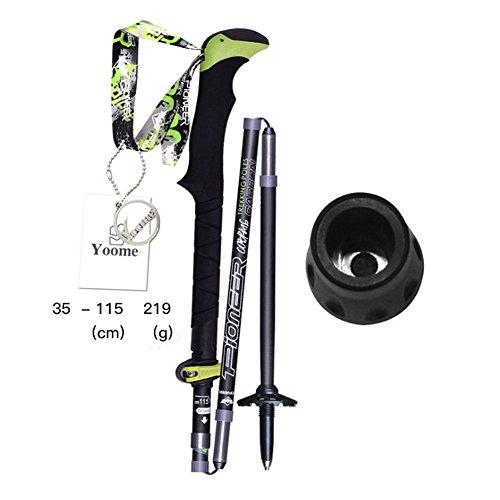 Yoome Folding zusammenklappbare Wandern / Walking / Trekkingstöcke High Carbon Fiber 5-Sektionen Expert Trekking Pole mit EVA-Griff verstellbar, Ultraleicht, Mehrzweck, perfekt für Wandern Klettern Wandern Schneeschuhwandern