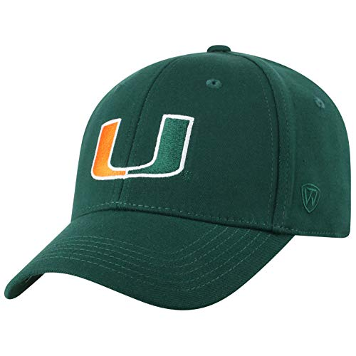 Top of the World NCAA Miami Hurricanes Men's Premium Memory Foam Logo Hat, Dark Green (Hurricanes Hat Miami)