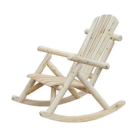 Outsunny Adirondack Fauteuil de Jardin à Bascule Rocking Chair Style