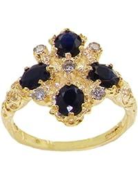 Luxus Damen Ring Solide 18 Karat (750) Gelbgold mit Saphir und Diamanten - Verfügbare Größen : 47 bis 68