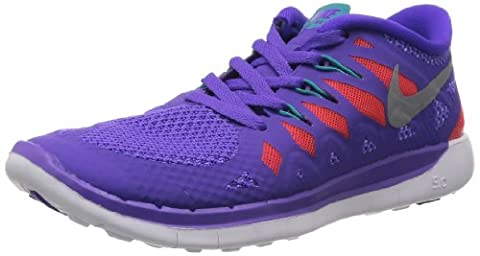 NikeFree 5.0, Hausschuhe für Jungen und Mädchen, violett - Viola(purple venom/metallic silver/orange/green) - Größe: 37,5