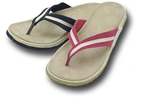 Donna in Pelle Infradito Perizoma Righe Flip Flop sandali Blu navy
