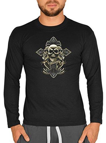 Gotik Kreuz mit Totenköpfen Motiv Longsleeve: Kreuz - Brotherhood -- Herren Langarmshirt / schwarz Schwarz