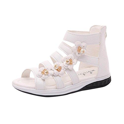 Sandales Filles Manadlian Sandales Bébé Eté Fleur Filles Plat Chaussures de Pricness Chaussures Anti-Dérapant Party Soirée Mariage Chaussures