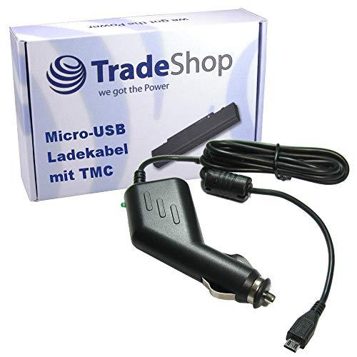 Trade-Shop Premium Micro-USB 2A KFZ-Ladekabel 12V/24V mit TMC Antenne ersetzt 4UUC5 4UUC.001.05 4 UUC 23 für Becker Blaupunkt Falk Garmin Navigon Tomtom Navigationsgerät (1,1m Länge)