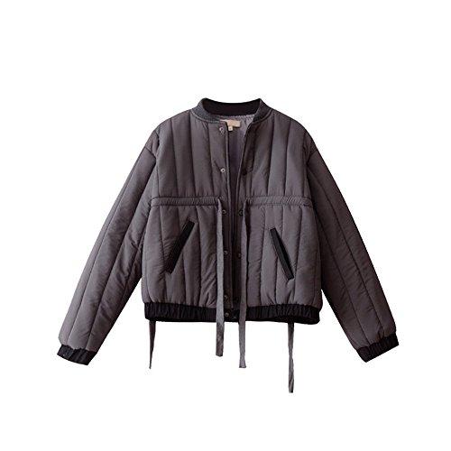 Manteau en coton noir d'hiver Veste femme court paragraphe coton à manches longues l'Algérie gray