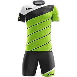 Zeus Kit Lybra Equipaciòn para el Fùtbol y el Voleibol Para Hombre Sport Pegashop Colour Verd Fluorescente-Negro-Blanco (L)
