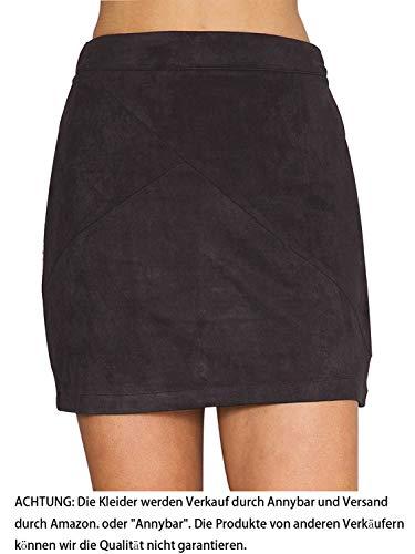 Annybar Damen Kurz Rock Elegant A Linien High Waist Leder Sommer Minirock, Gr.-42/ XL, Schwarz