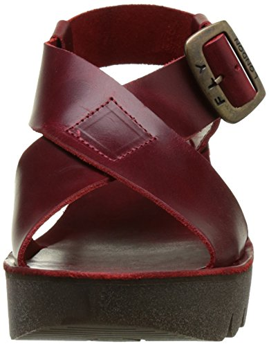 Fly London P143880003, Sandali con Zeppa Donna Rosso (red 006)