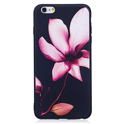 Coque pour iPhone 6 Plus/6S Plus Coque en Siliocne,iPhone 6 Plus Etui Coque Rose Romantique Élégant Fleur Motif,ETSUE iPhone 6 Plus Silicone Coque Luxueux Scintiller Bling Doux Coque Transparent Houss Lis