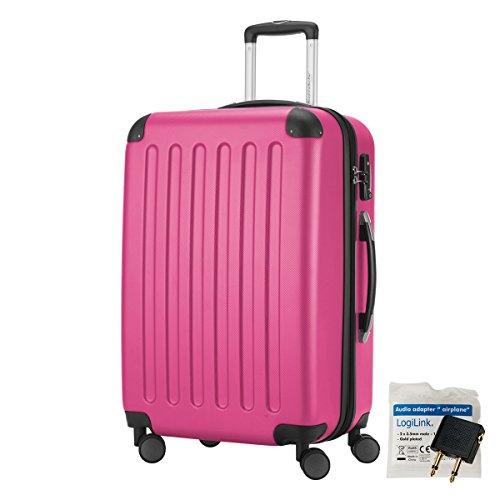 HAUPTSTADTKOFFER® 82 Liter Reisekoffer · SPREE · TSA · MATT · NEU 4 Doppel-Rollen · (in 12 Farben) + LogiLink® Flugzeug Audio Adapter (Schwarz) Magenta