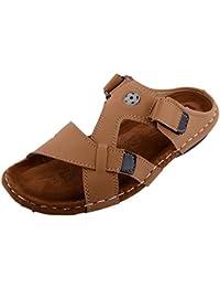 Real Blue Men's Tan Synthetic Sandals   men leather slip on sandals   trendy men daily use slip on sandals  men leather sandals  buckle closure men brown sandal