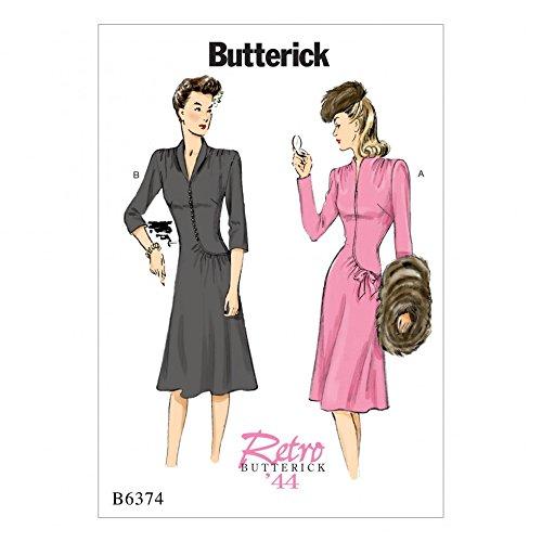 Butterick pour Femme Couture Pattern6374col de Cygne ou col châle Style Vintage Robes