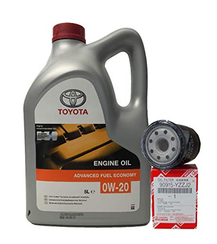 Pack Duo Toyota Genuine Service Kit Hybrid Oil Engine 0W-20 5 Litri + Filtro Olio 90915-YZZJ2