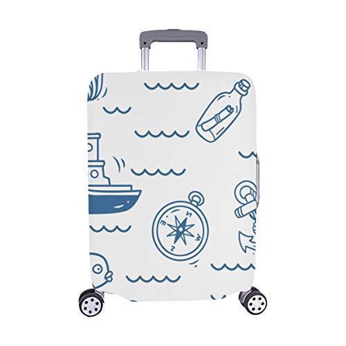 Schiffe Fisch Sonne Wolken Meer und Wellen Muster Spandex Trolley Reisegepäck Beschützer Koffer Cover 28,5 X 20,5 Zoll