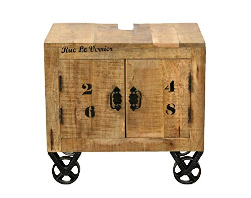 SIT-Möbel Rustic 1908-04 Unterschrank mit 2 Türen, aus Mangoholz, Antik, braun, Wortprints, 66 x 43 x 61 cm -