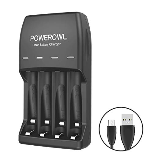 Caricabatterie, Indicatore LED POWEROWL 4 Bay Caricabatterie USB per Batterie Ni-MH Ni-CD AA e AAA Ricaricabili con Cavo USB (caricabatterie da 4 bay)