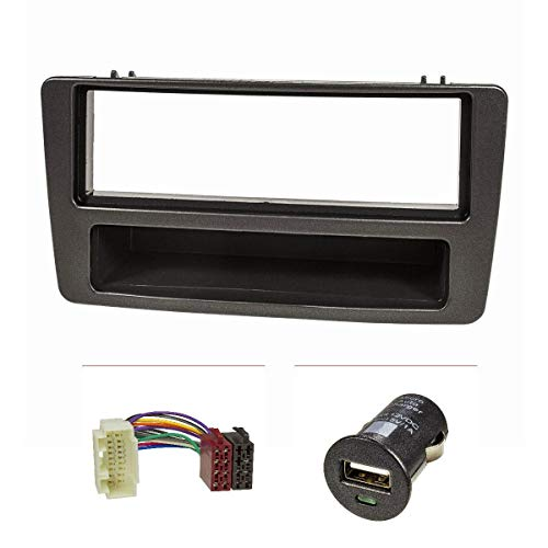 tomzz Audio 2417-004 Radioblende Set passend für Honda Civic Bj.2001-2006 manuelle Klimaanlage anthrazit mit Radioadapter ISO, USB-Lader