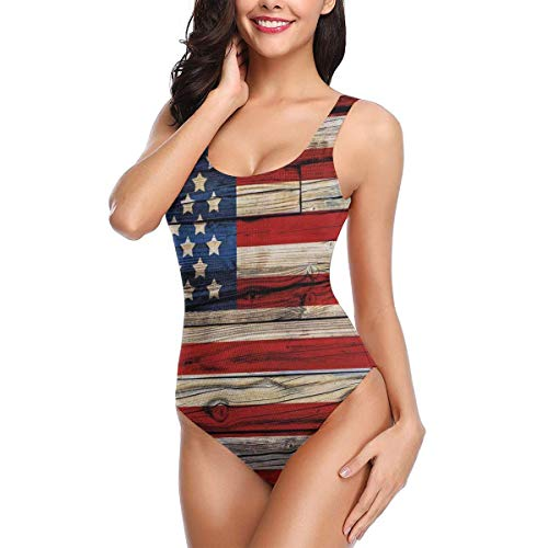 Swimming Costume for Women One Piece, Wooden Planks Painted As United States Flag Patriotic Country Style,Round Neck Swimsuit Beach SwimwearM (Country Boy Kostüm)