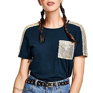 ◑‿◑ JUSTSELL Tops für Damen Sommer,FrauenPatchwork Shirt Kurzarm Tee Rundhalsausschnitt Bluse Party Tops